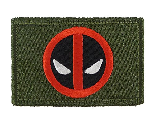 Deadpool Funny Tactical Hook and Loop Fully Embroidered Morale Tags Patch (Green and Black) -
