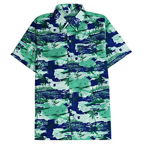 Tropical Hawaiian Shirts for Men Aloha Beach Outfit Button Up Short Sleeve Hawaii Palm Trees Casual Camp Wear Green