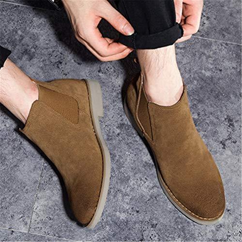 Giallo Giallo da Ammortizzazione Uomo Uomo Uomo Tondo Block Scarpe Comodo Martin Testa Auto Pizzo Stivali British Medio Heel Cuciture Casual ga5nxdqqw
