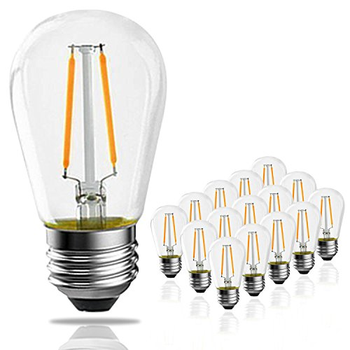 - Banord 15 Pack Dimmable 2W S14 Replacement LED Bulbs, 2700K Warm White Waterproof Outdoor String Lights Vintage LED Filament Bulb, Shatterproof E26 Candelabra Screw Base Edison LED Light Bulbs