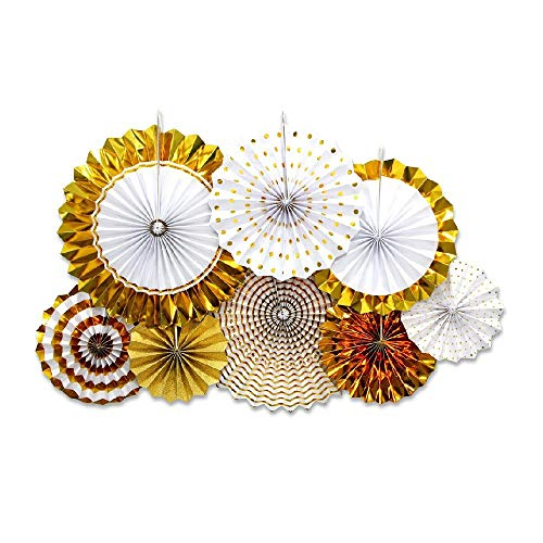 Gold Paper Fan Flower Set, Sundell Sparkly Round Pattern Paper Garlands Bunting Hanging Banner Party Decoration for Birthday Wedding Engagement Bridal Shower Baby Shower Events Accessories, Set of -