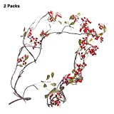 Pluslove 2 Packs Artificial Pip Berries,43inch Red Pip Berries Garland Vine With Leaves for Home Garden Decoration (red)