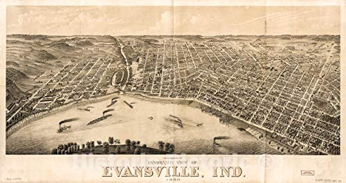 Historic 1880 Map   Panoramic View of Evansville, Ind, 1880. 46in x 24in