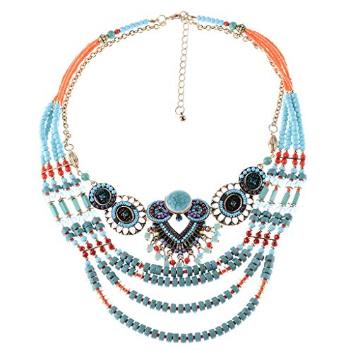 Peigen Layering Handmade Beaded Necklace for Women Retro Boho Owl Bead Necklace Handmade Beaded Necklace Ladies -