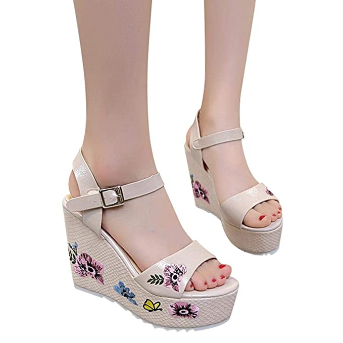 a76b664a0c9 POLP Sandalias de Plataforma Mujer Sandalias Plataforma Verano Zapatos  Antideslizante Sandalias para Mujer Sandalias cuña Mujer