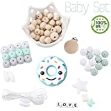 baby love home Silicone Teether Beads DIY Set with Wooden Pacifier Clip Mint Green Donuts Teether Necklace for Mom DIY Teething Bracelet Accessories Kit
