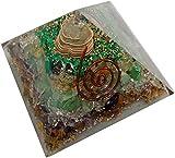Crystal Cave Money Magnet Orgone Pyramid 50 MM Natural Stone Pyrite, Citrine, Green Aventurian, Tigereye, Crystal,Amethyst,Melecite, Magnetit