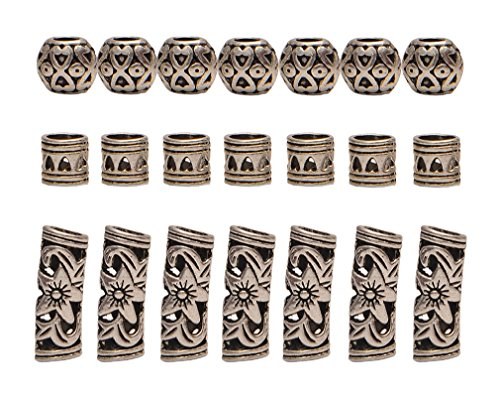 Alloy Beads - Teemico 30 Pieces Retro Tibet Silver Alloy Ribs Beads for Bracelet Jewelry Making Dreadlocks Tube Braiding Hair Decoration Accessories