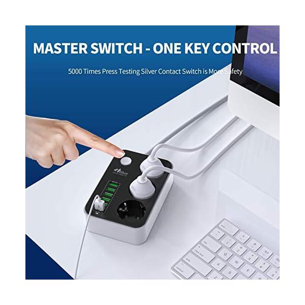 51c3j9EIctL Mehrfachsteckdose HULKER Steckdosenadapter 3 fach/Steckdosen 6 USB -Anschlüsse, Steckdosenleiste mit überspannungsschutz…