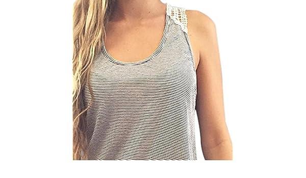YpingLonk Camiseta sin Mangas para Mujer Hueca Traje Cuello ...
