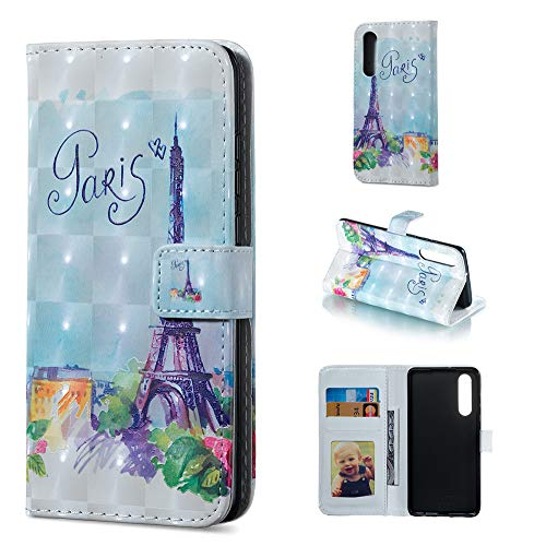 Frame Tower Run (IVY P30 PU Leather Folio Flip Cover [3D Relief Pattern ][Kickstand] for Huawei P30 Magnetic Wallet Case - Eiffel Tower)