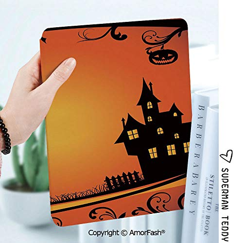 Ultra Lightweight Standing Cover for Galaxy Tab A 8.0 Inch SM-T380/T385 2017,Halloween Framework with Curvy Tree Branches Swirls Leaves Gothic Castle Festival Decorative