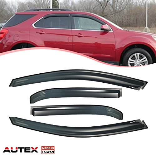 AUTEX Made in Taiwan 4Pcs Tape On Window Visor Replacement for Chevy Equinox 2010 2011 2012 2013 2014 2015 2016 2017 Side Wind Deflector Sun Rain Guard