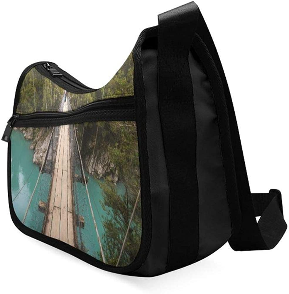 Areial View Of Suspension Bridge Messenger Bag Crossbody Bag Large Durable Shoulder School Or Business Bag Oxford Fabric For Mens Womens