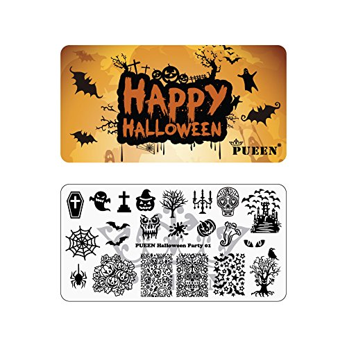 PUEEN Nail Art Stamping Plate - Halloween Party 01 - Theme Park Collection 125x65mm Unique Nailart Polish Stamping Manicure Image Plates Accessories Kit - BH000725 -