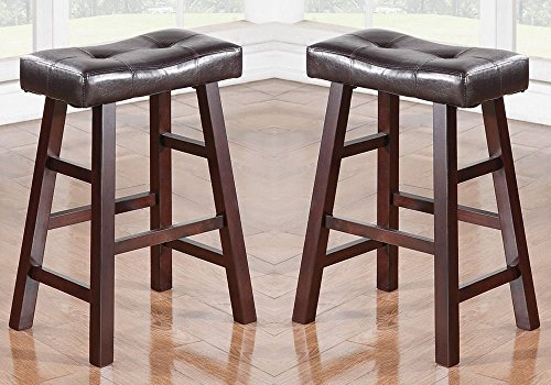24h Counter Stool - 1PerfectChoice Set of 2 Dark Cherry Faux Leather Solid Wood 24H Saddle Counter Height Bar Stool