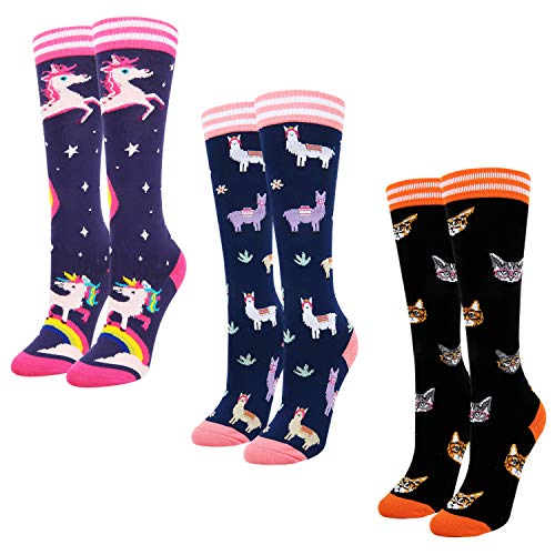 Women Athletic Animal Space Star Llama Grass Cat in Glasses Knee High Calf ()