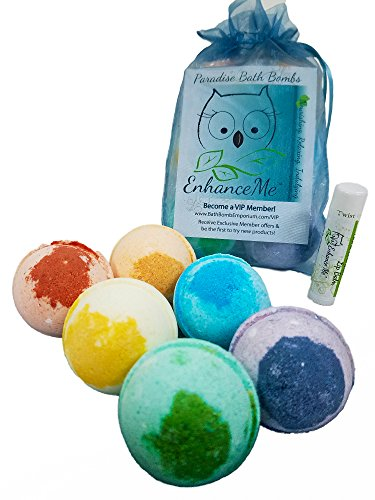 Bath Bombs, w/FREE Lip Balm Gift Set, Organic Sustainable Palm Oil, from Enhance Me, Handmade in USA with Lush Shea Butter, Coconut Oil, 'See, Smell, …