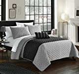 Chic Home 4 Piece Ellias Geometric Quilting Embroidery Queen Quilt Set Grey Shams and Decorative Pillows included