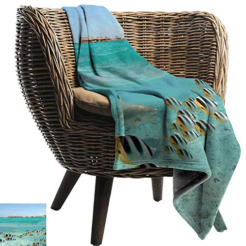 Baby Blanket Ocean Blacktip Reef Shark Chasing Butterfly Fish Lagoon of Bora Bora Tahiti Throw Blanket Adult Blanket 60