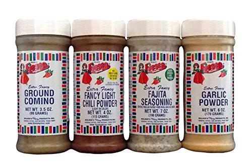 a Fancy Traditional Mexican Kitchen Seasoning 4 Flavor Variety Bundle: (1) Fajita Seasoning, (1) Comino (Cumin), (1) Light Chili Powder, and (1) Garlic Powder, 3.5-7 Oz. Ea. ()