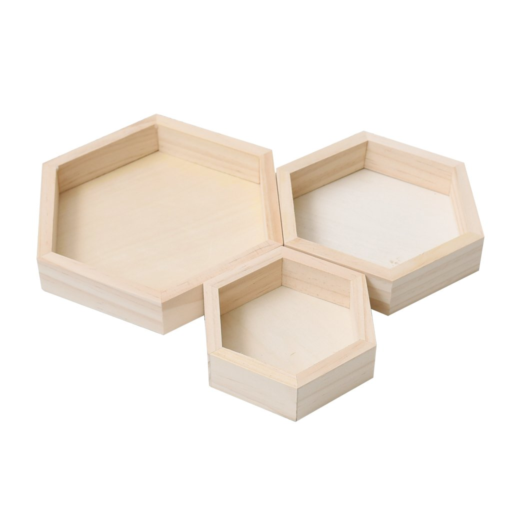 Homyl 3 Pieces Natural Wood Unfinished Hexagonal Shaped Jewelry Storage Display Tray