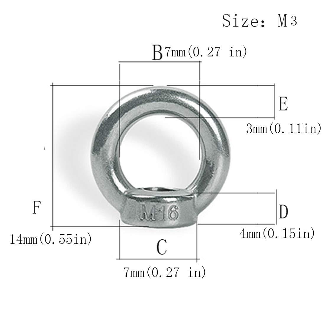 M6 Pack-of-12 Innenringmutter zum Heben von Edelstahl 304 12PCS Heben Ringmuttern