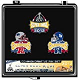 Super Bowl XLVI New England Patriots vs. New York Giants Official Dueling Pin Set - Limited - w/ Display Stand