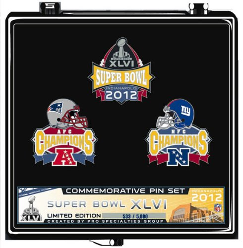 Super Bowl XLVI New England Patriots vs. New York Giants Official Dueling Pin Set - Limited - w/ Display Stand by Pro Specialties Group