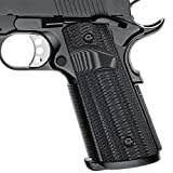 Cool Hand 1911 Full Size Magwell G10 Grips,Big Scoop,Ambi Safety,Ridges Texture include 1911 Grips Screws Grey/Black