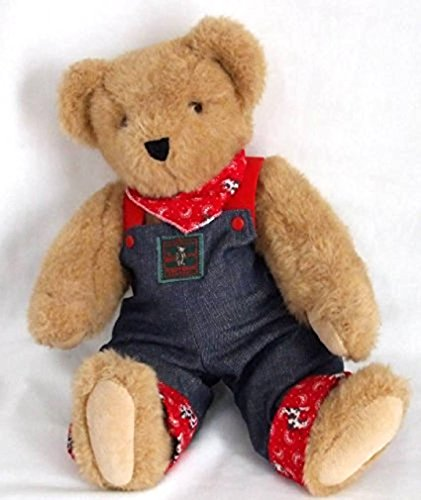 "15"" VERMONT POSABLE TEDDY BEAR IN OVERALLS"