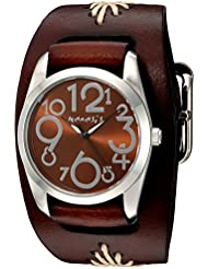 Nemesis Womens Showgirl Series Quartz Stainless Steel and Leather  Watch, Color:Brown (Model: BBF109B)
