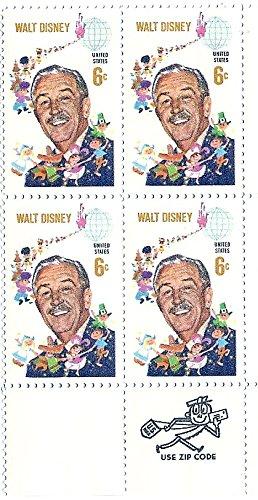 1968 Block Of 4 Walt Disney US Postage Stamps 6 Cents MNH Scott #1355