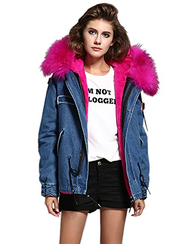 Melody Women's Large Real Raccoon Fur Collar Hooded Parkas Detachable Lining Coat Winter Jacket (Large, Denim - Mei Red)