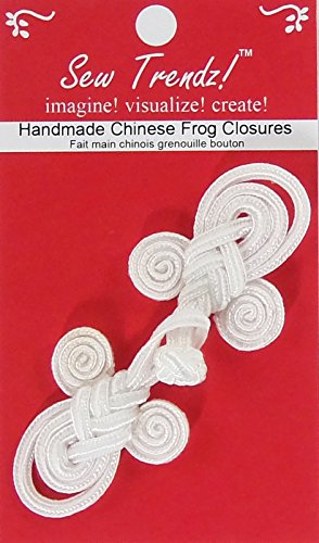 (Chinese Frogs Button Closures Hook & Eye Fastener - Sewing Quilting Renaissance Dance Hawaiian Bridal Costumes Outfit Drapery Home Decor-White-3.5