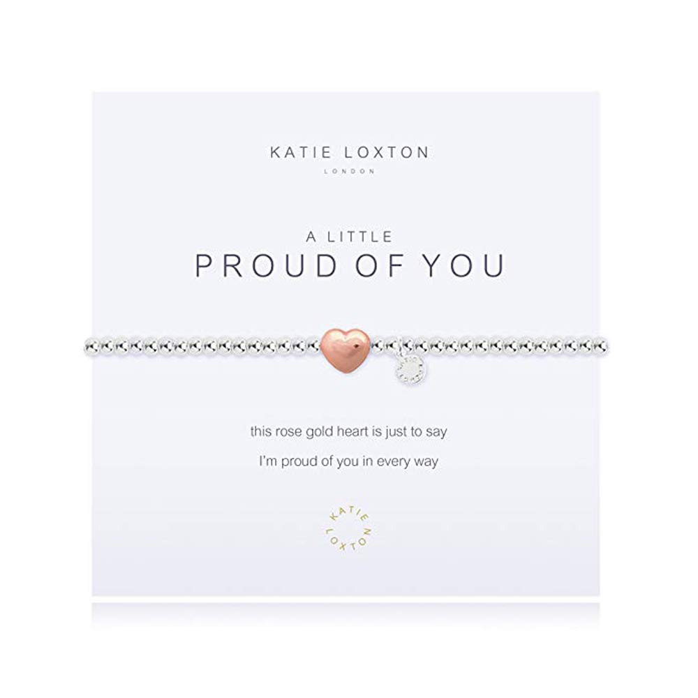 Katie Loxton A Little Proud Of You Heart Silver Women's Stretch Adjustable Charm Bangle Bracelet by Katie Loxton