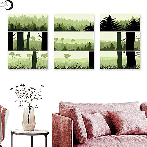 J Chief Sky Forest Wall hangings Horizontal Banners with Abstract Wild Green Growth on The Hills Wall Panel Art Pistachio Green Beige Black Triptych Art Canvas W 12