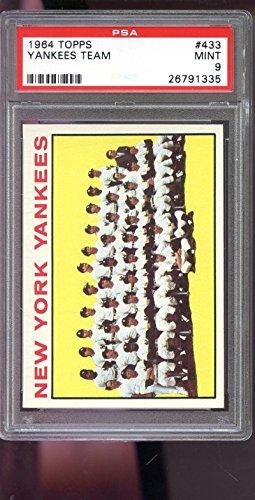 - 1964 Topps #433 New York Yankees Team Photo MINT PSA 9 Graded Baseball Card