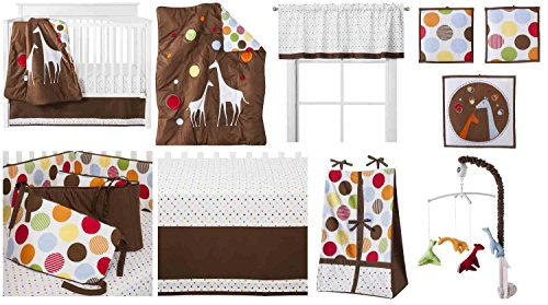 Baby Me 10 Piece Unisex Crib Set with Bumper Pad 100 Percent Cotton Includes Free Plush Blanket