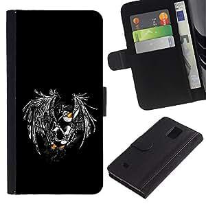 Billetera de Cuero Caso Titular de la tarjeta Carcasa Funda para Samsung Galaxy Note 4 SM-N910 / Funny Flying Penguin / STRONG