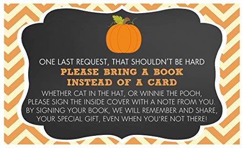 Bring A Book Cards Pumpkin Baby Shower Fall Autumn Chalkboard Sprinkle Insert Request Library Collection Keepsake Gift Idea Activity Game Chevron Stripes Harvest Gender Neutral Unisex (25 count)