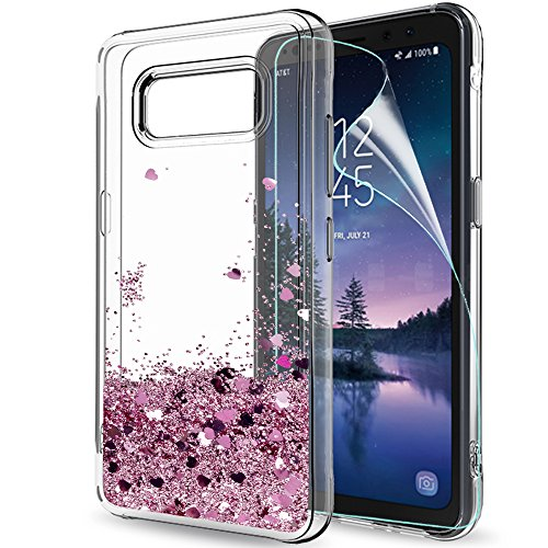 Galaxy S8 Active Case (Do Not Fit S8) with HD Screen Protector for Girls Women,LeYi Glitter Shiny Bling Quicksand Liquid Clear TPU Protective Phone Case for Samsung Galaxy S8 Active ZX Rose Gold