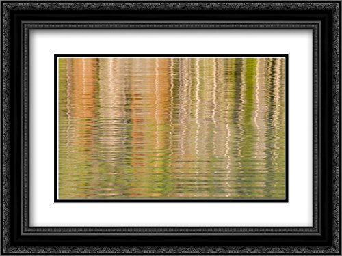 Idaho Fall reflections ripple on Redfish Lake 2x Matted 24x18 Black Ornate Framed Art Print by Paulson, Don (Framed Redfish)