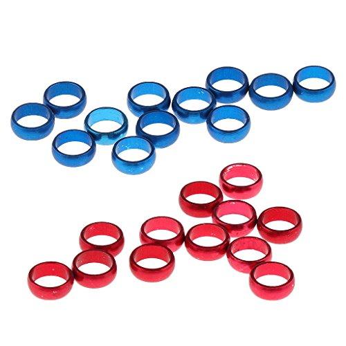 Baosity 24ピース 赤 青 アルミニウム ワッシャー ダーツ シャープ プロテクト フライト Oリング スペアグリッパーリング