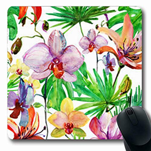 NOWCustom Oblong Mousepads Watercolor Abstract Hand Bloom Magnolia Tropical Nature Oblong Shape 7.9 x 9.5 Inches Non-Slip Rubber Mousepad Gaming Mouse Pad