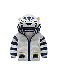 EISHOW Kids Baby Boy Girl Long Sleeve Fall Winter Warm Hooded Outerwear Infant Toddler Cartoon Animal Zipper Pocket Coat Tops