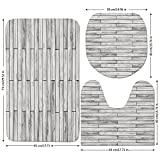 3 Piece Bathroom Mat Set,Taupe,Picture of a Parquet Grey Wood Texture Rusty Retro Antique Aged Display Striped Tile,Taupe Grey,Bath Mat,Bathroom Carpet Rug,Non-Slip