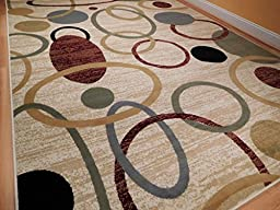 New Home 8x11 Floral Area Rugs Contemporary Rugs 8x10 Nice Rug For Bedroom Circles Wave Inspired India Printed Rug, Large 8x11 Feet