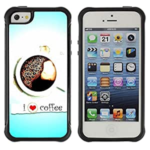 SHIMIN CAO@ Design I Love Coffee Rugged Hybrid Armor Slim Protection Case Cover Shell For iphone 5S CASE Cover ,iphone 5 5S case,iphone5S plus cover ,Cases for iphone 5 5S