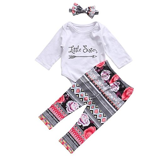 Big Sister Toddler Shirt (HESHENG Baby Girls Clothes Little Big Sister T-shirt Romper+Floral Print Pants+Headband 3pcs Outfit (0-6Months, Little Sister))